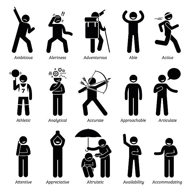 Positive Good Personalities Character Traits. Stick Figures Man Icons. vector art illustration