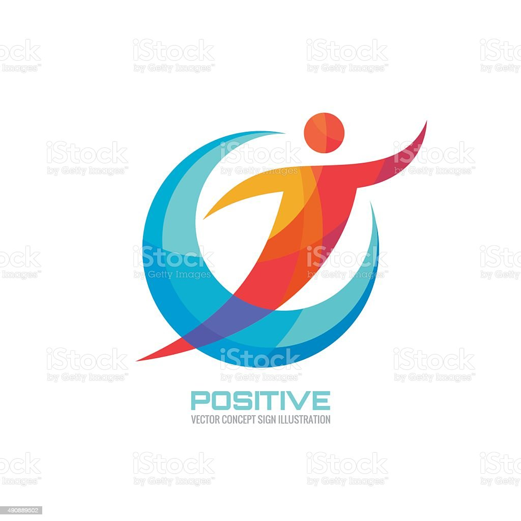 Positive - human in colored rings - creative sign vector art illustration