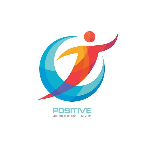 positive-menschen in farbige ringe-creative-schild - freilauf stock-grafiken, -clipart, -cartoons und -symbole
