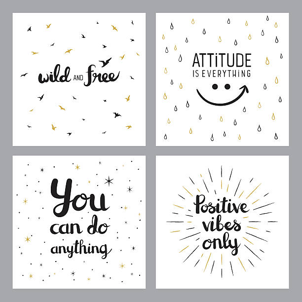 Positive inspirational quotes Easily editable set of vector illustrations on layers. short phrase stock illustrations