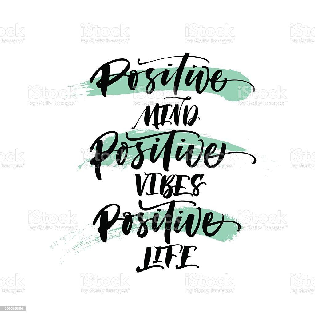 Positive mind, positive vibes, positive life postcard. vector art illustration