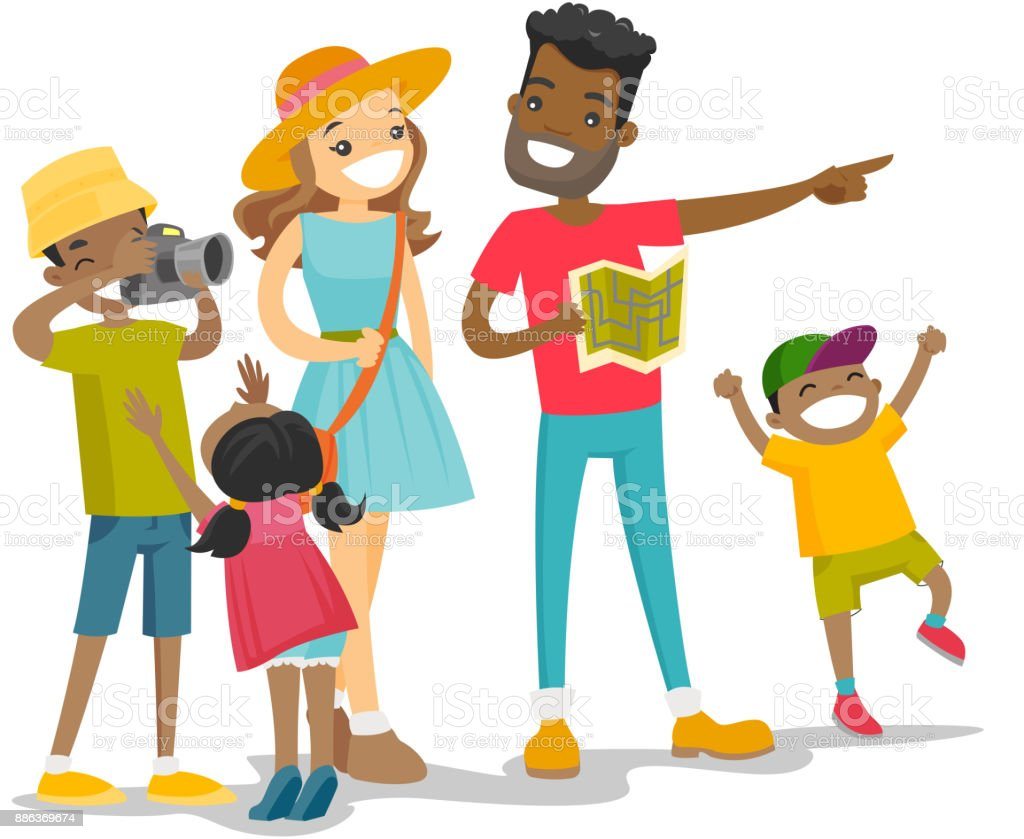 Famille multiraciale positive, voyageant ensemble - Illustration vectorielle