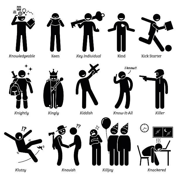 Positive Negative Neutral Personalities Character Traits. Stick Figures Man Icons. Positive negative neutral personalities traits, attitude, and characteristic. Knowledgeable, keen, key individual, kind, kick starter, knightly, kingly, kiddish, know-it-all, killer, klutzy, knavish, killjoy, and knacker-ed.  careless stock illustrations