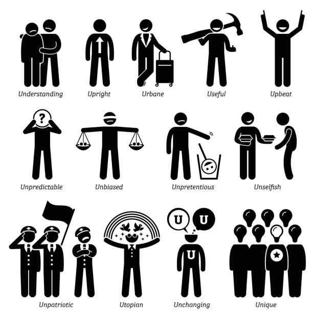 Positive Neutral Personalities Character Traits in Stick Figures. Starting with the Alphabet U. vector art illustration
