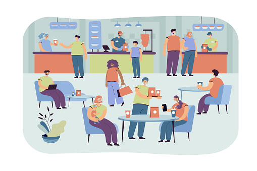 Positive people eating in cafe isolated flat vector illustration