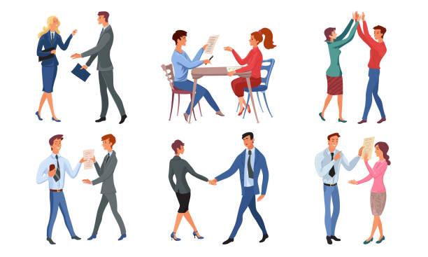 bildbanksillustrationer, clip art samt tecknat material och ikoner med positiva människor med framgångsrik affär och avverkning glad vektor illustration - client meeting