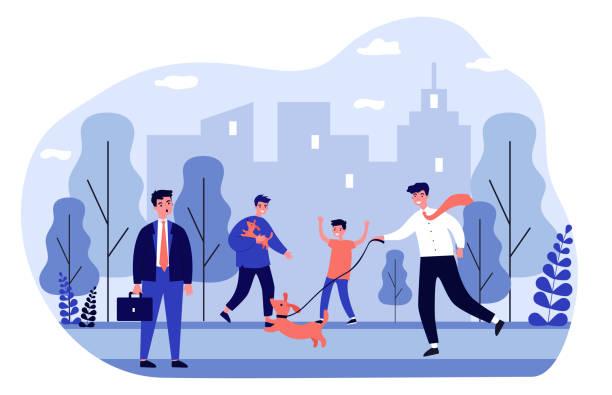 illustrazioni stock, clip art, cartoni animati e icone di tendenza di positive people walking dogs in city park - city walking background
