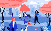 Positive people walking dogs. Dog owners with pets on with leash in city park flat vector illustration. Animal care, hobby, lifestyle concept for banner, website design or landing web page