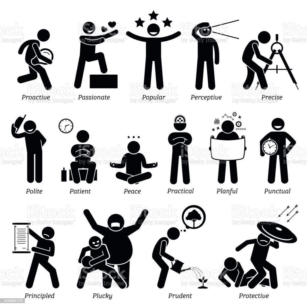 Positive Personalities Character Traits in Stick Figures. Starting with the Alphabet P. vector art illustration