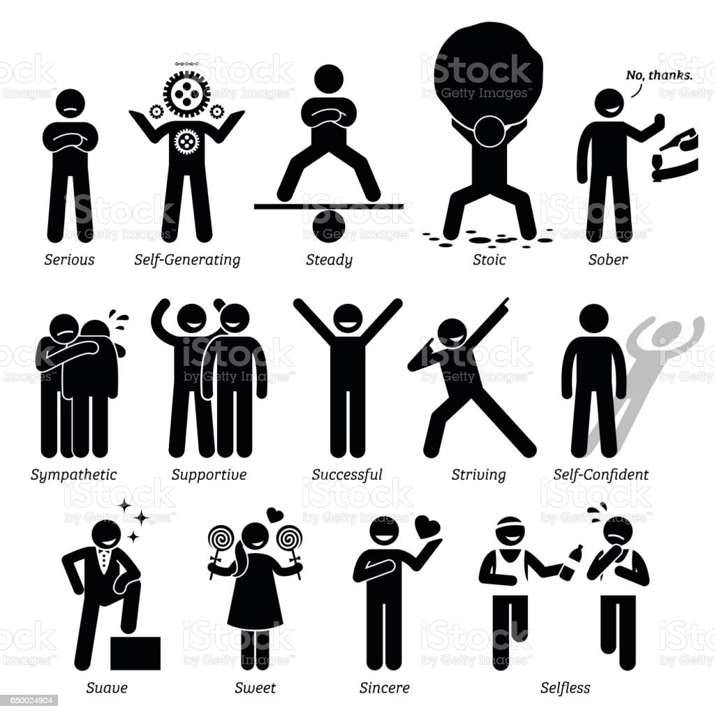 Positive Personalities Character Traits In Stick Figures. Starting With The  Alphabet S. Royalty   Positive Character Traits