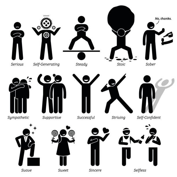 Positive Personalities Character Traits in Stick Figures. Starting with the Alphabet S. Positive personalities traits, attitude, and characteristic. Serious, self-generating, steady, stoic, sober, sympathetic, successful, striving, self-confident, suave, sweet, sincere, and selfless. suave stock illustrations
