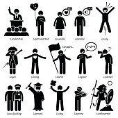 Positive Personalities Character Traits. Stick Figures Man Icons.