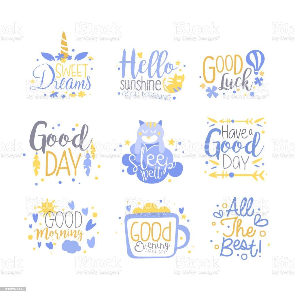 Ilustración De Conjunto De Frases Positivas Mano Escrita