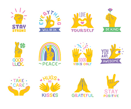 Positive quotes with hand emojis