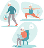 Set of senior woman in different situations. Senior woman activities - grocery shopping, browsing internet on laptop, doing yoga. flat vector character