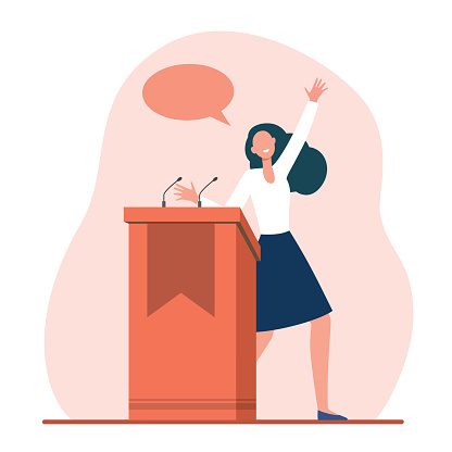 Positive speaker talking from tribune. Discussion, stage, candidate flat vector illustration. Public speech and politics concept for banner, website design or landing web page