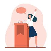 istock Positive speaker talking from tribune 1286342260