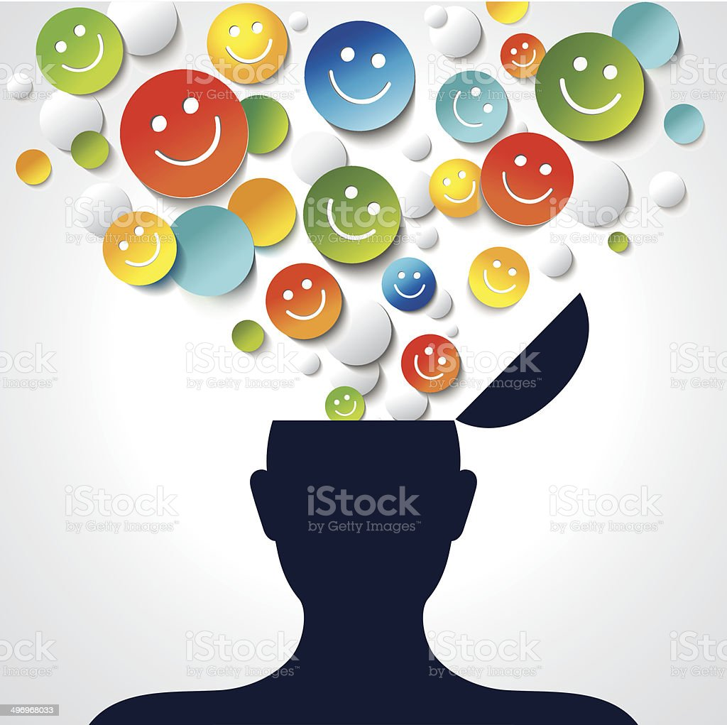 Positive thinking. Conceptual background. vector art illustration