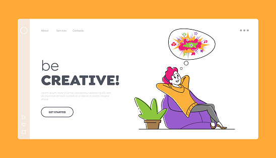 Positive Thinking, Optimistic Imagination Landing Page Template. Happy Female Character Sitting on Comfortable Beanbag Armchair in Relaxed Posture Dreaming and Imagine. Linear Vector Illustration
