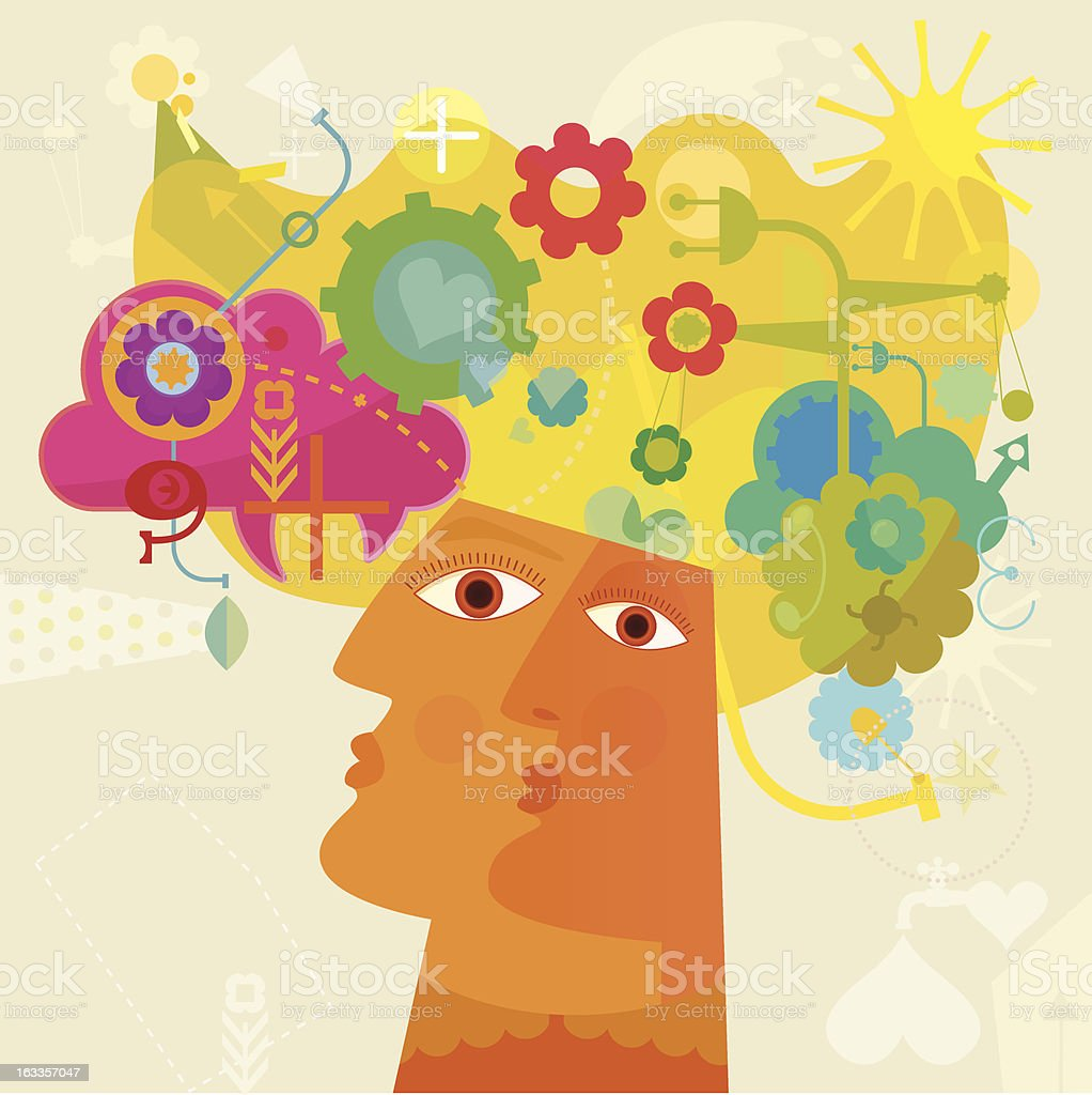 Pensamento positivo - ilustração de arte em vetor