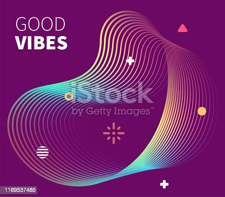 Positive thoughts with dynamic fluid background lines. Perfect vector illustration for business cards, invitations, gift cards, flyers and online banners.