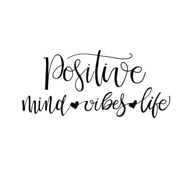 Positive Positive mind, positive vibes, positive life postcard. Inspirational phrase, motivation. Modern brush calligraphy. Isolated on white background. short phrase stock illustrations