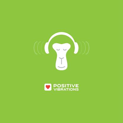 Positive vibrations. Monkey enjoys the music. Relaxing monkey in headphones. Print for music studio.