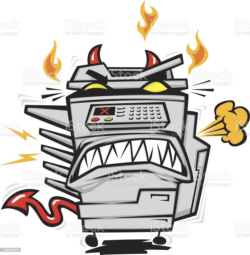 possessed copy machine vector art illustration