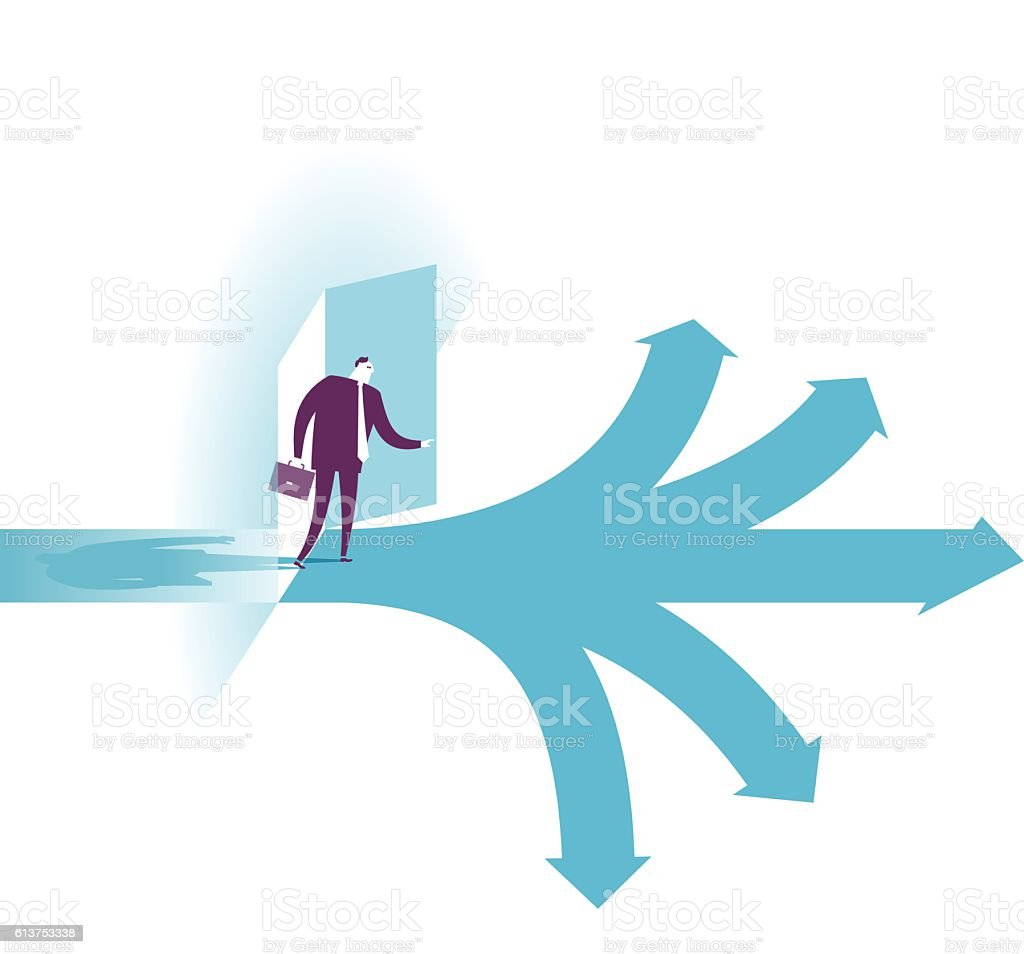 Possibilities.  businessman selecting the best solution. vector art illustration