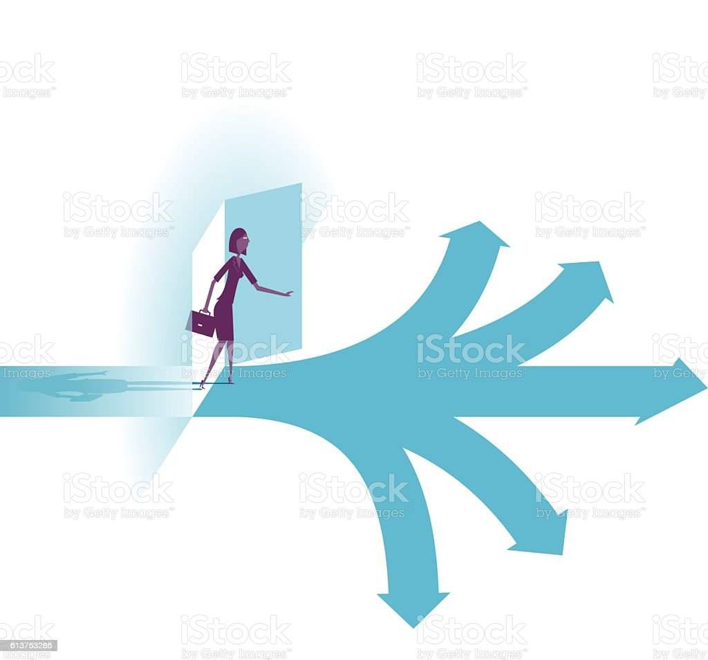 Possibilities.  businesswoman selecting the best solution. vector art illustration