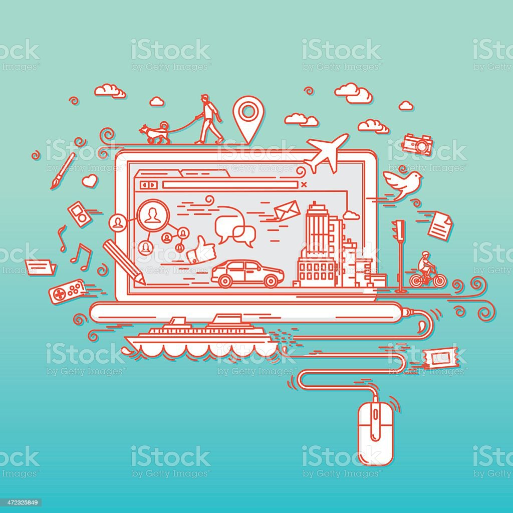 Possibilities of internet vector art illustration