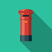 Post Box Flat Design United Kingdom Icon