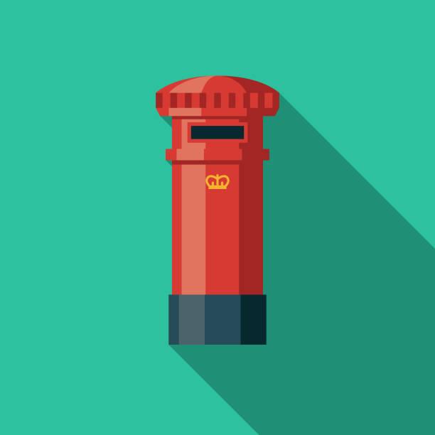 Post Box flach Designikone Vereinigtes Königreich – Vektorgrafik