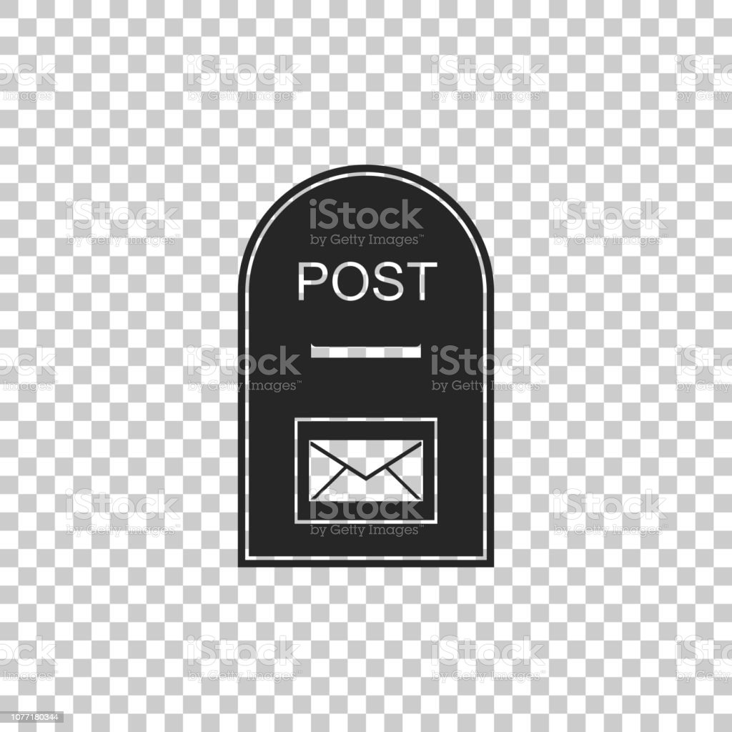 Post box icon isolated on transparent background. Mail box sign. Flat...