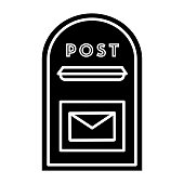 post box icon, illustration, vector sign on isolated background