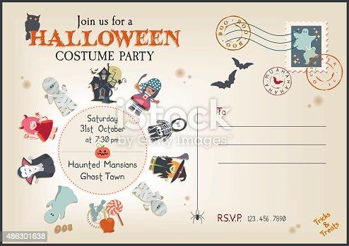istock Post Card Style Halloween Costume Party Invitation 486301638