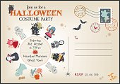 Old post card style Halloween Costume Party Invitation... with cartoon character in fancy dress costumes, stamps and postmarks and room for your own text.