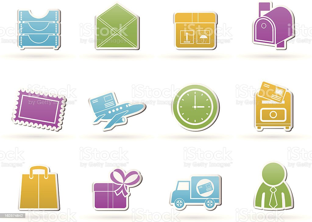 Post, correspondence and Office Icons royalty-free stock vector art
