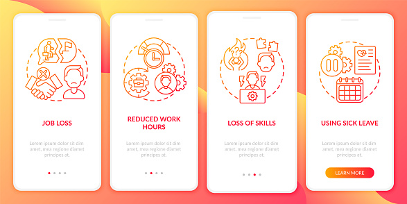 Post covid syndrome and employment onboarding mobile app page screen with concepts