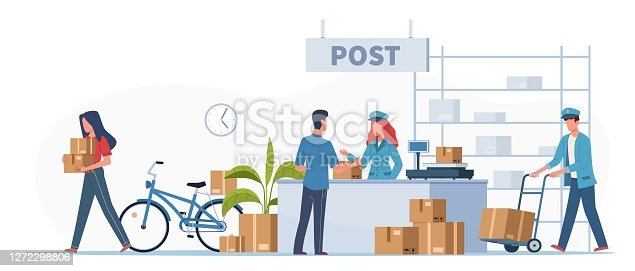 istock Post delivery office. Postmen, courier and people with boxes and letters in post reception, order receiving or parcel, mail service postage stamp envelopes vector flat illustration 1272298806