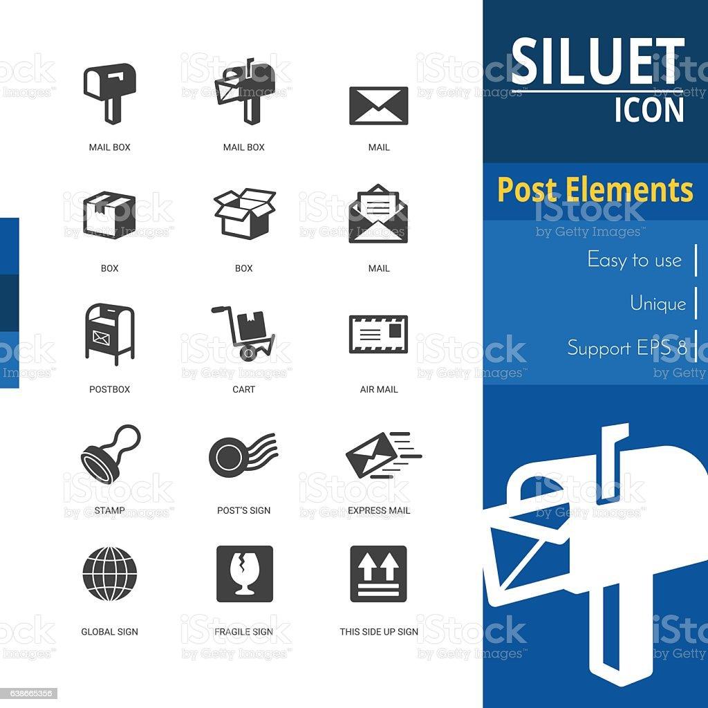 Post elements silhouette icon sets on white background. – Vektorgrafik