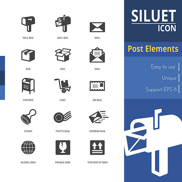 post elements silhouette icon sets on white background. - postal worker stock illustrations