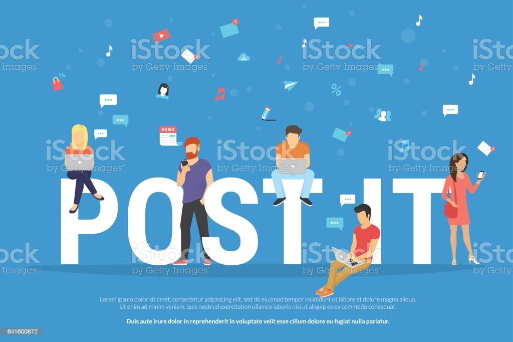 Post it concept illustration of young people using devices such as laptop and smartphone vector art illustration