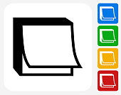 Post It Note Icon Flat Graphic Design
