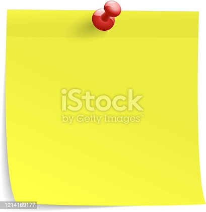 blank post it note on white background