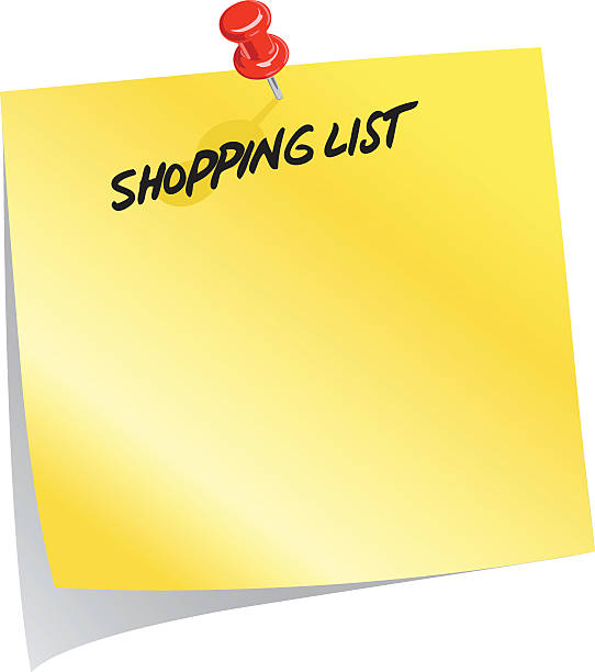 Post It Note A vector illustration of a post it note shopping list. shopping list stock illustrations