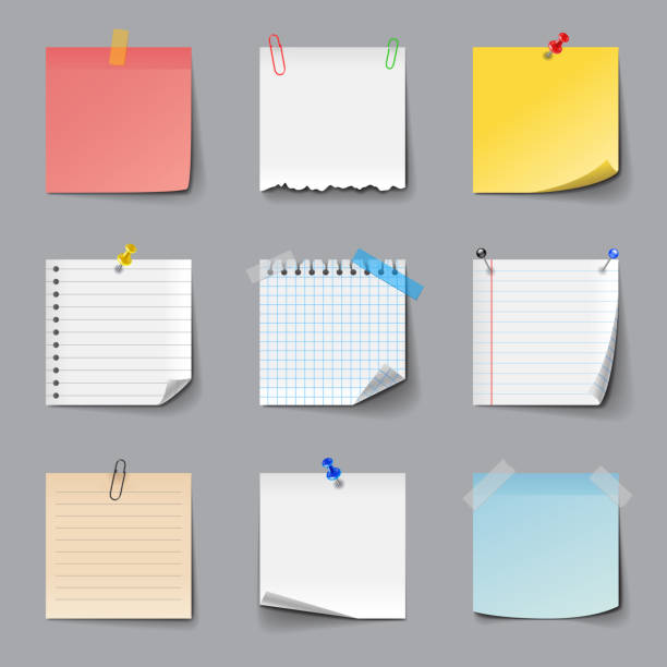 illustrations, cliparts, dessins animés et icônes de post it notes icons vector set - billet