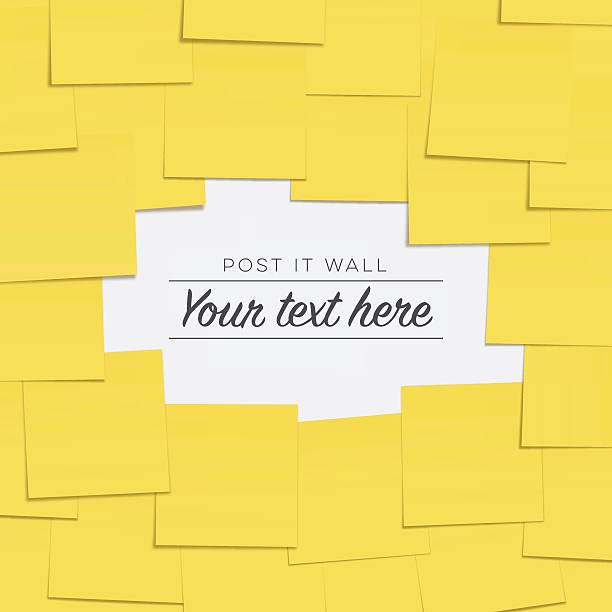 post it notes on the wall with copyspace - post it notes stock illustrations