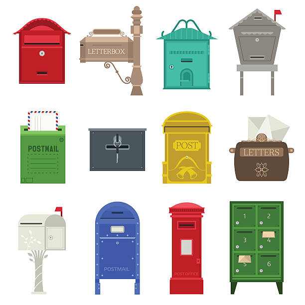 post mail box vector set. - briefkasten stock-grafiken, -clipart, -cartoons und -symbole