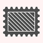 Post mark glyph icon. Letter postage sticker. Postal service vector design concept, solid style pictogram on white background, use for web and app. Eps 10